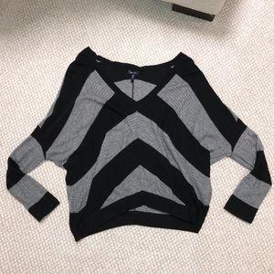 Splendid Black and Grey Striped V Neck Sweater
